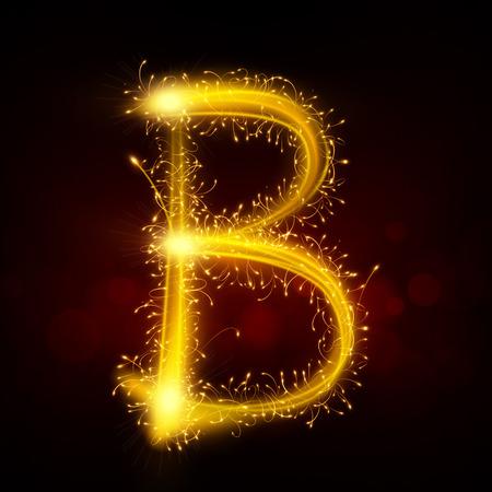 3d sparkler vuurwerk letter B geïsoleerd op een zwarte achtergrond