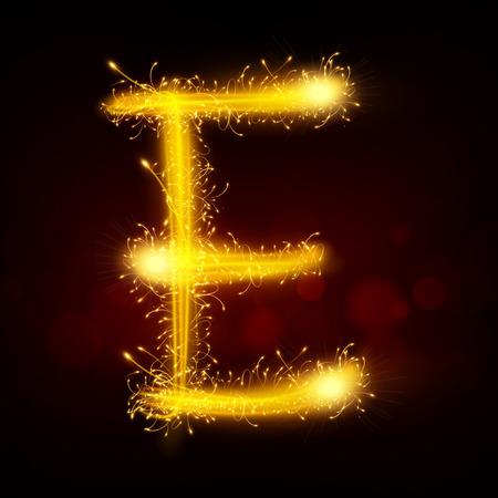 e new: 3d sparkler firework letter E isolated on black background