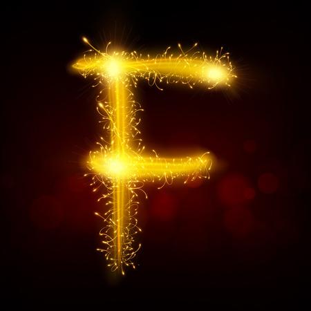 sparkler: 3d sparkler firework letter F isolated on black background