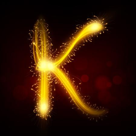 letter k: 3d sparkler firework letter K isolated on black background