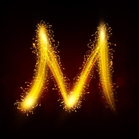 3d sparkler firework letter M isolated on black background  イラスト・ベクター素材