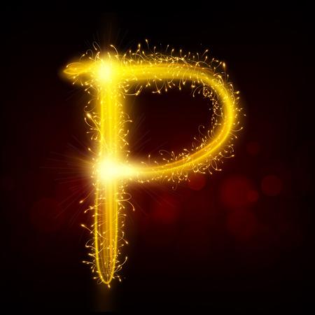 3d sparkler firework letter P isolated on black background Ilustracja