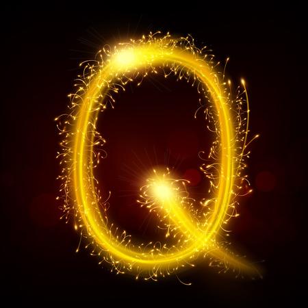 sparkler: 3d sparkler firework letter Q isolated on black background