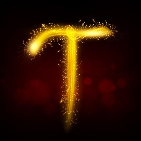 3d sparkler firework letter T isolated on black background Vector