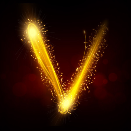gold letter: 3d sparkler firework letter V isolated on black background Illustration