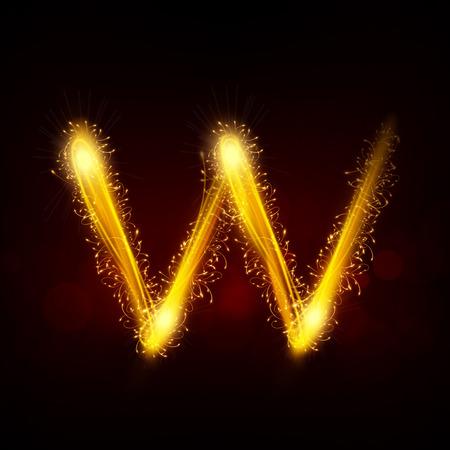 3d sparkler firework letter W isolated on black background