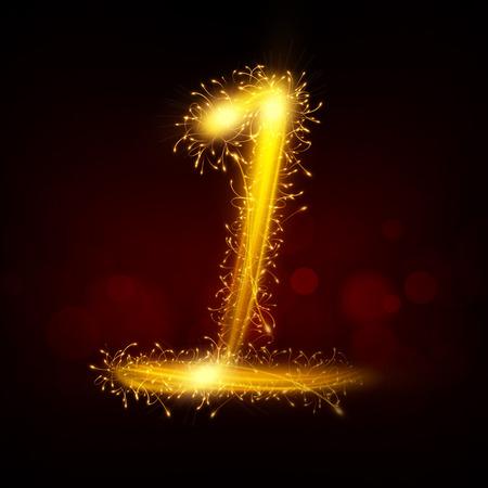 sparkler: 3d sparkler firework number 1 isolated on black background