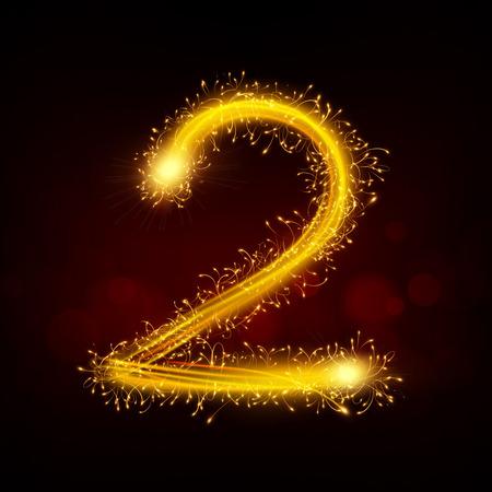sparkler: 3d sparkler firework number 2 isolated on black background Illustration