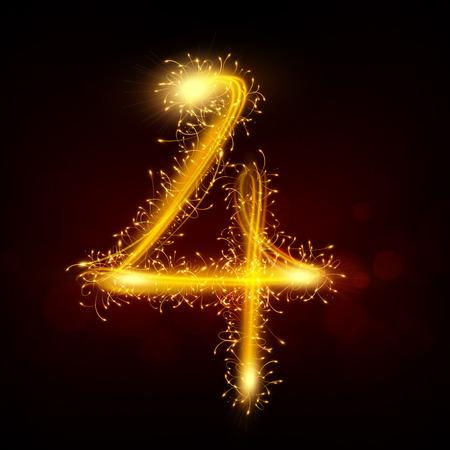 number 4: 3d sparkler firework number 4 isolated on black background Illustration