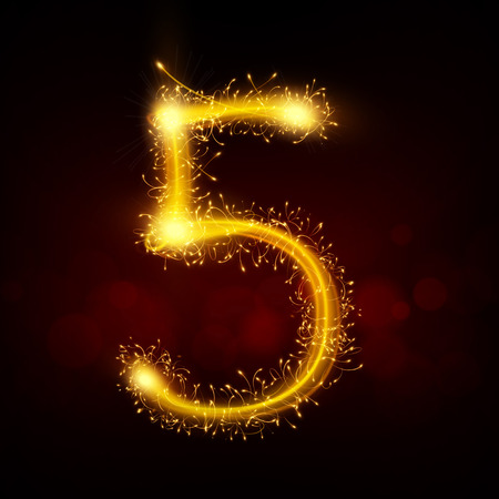 number 5: 3d sparkler firework number 5 isolated on black background Illustration