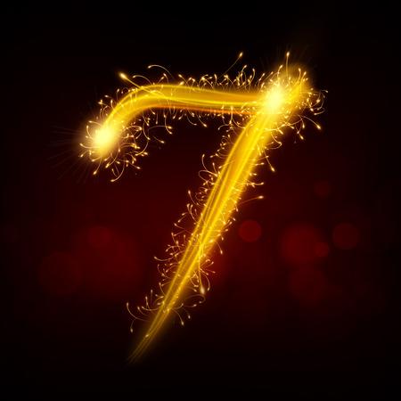 number 7: 3d sparkler firework number 7 isolated on black background Illustration