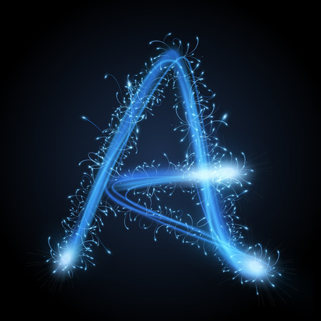 letters of the alphabet: 3d blue sparkler firework letter A isolated on black background