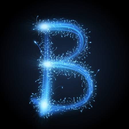 letter b: 3d blue sparkler firework letter B isolated on black background Illustration