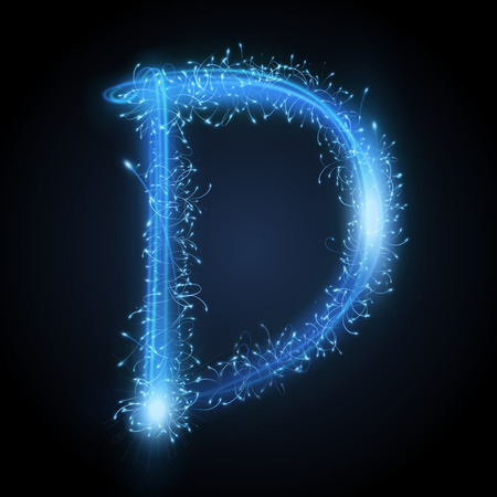 d: 3d blue sparkler firework letter D isolated on black background