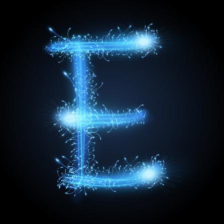3d blue sparkler firework letter E isolated on black background