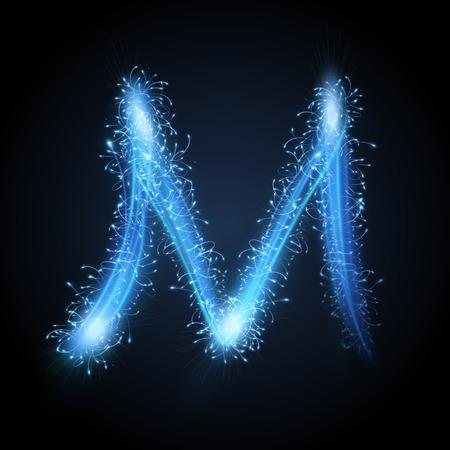 3d blue sparkler firework letter M isolated on black background