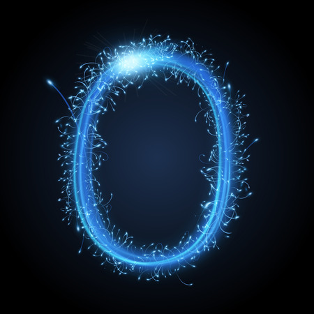 alphabet letters: 3d blue sparkler firework letter O isolated on black background