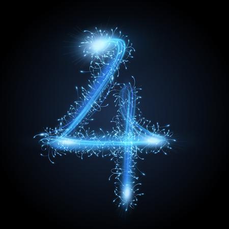 3d blue sparkler firework number 4 isolated on black background Illustration