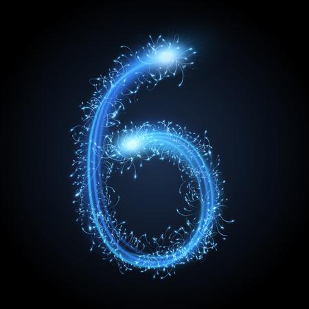 sparkler: 3d blue sparkler firework number 6 isolated on black background