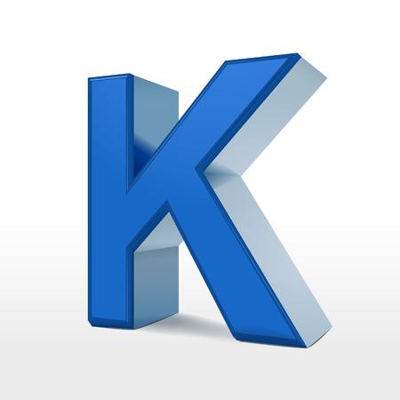 letter k: 3d blue alphabet K isolated on white background