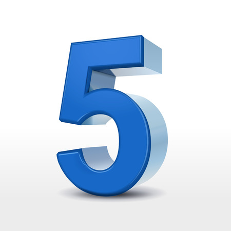 number 5: 3d blue number 5 isolated on white background