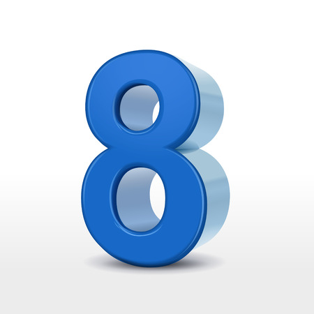 number 8: 3d blue number 8 isolated on white background