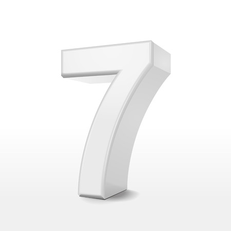 number 7: 3d white number 7 isolated on white background Illustration