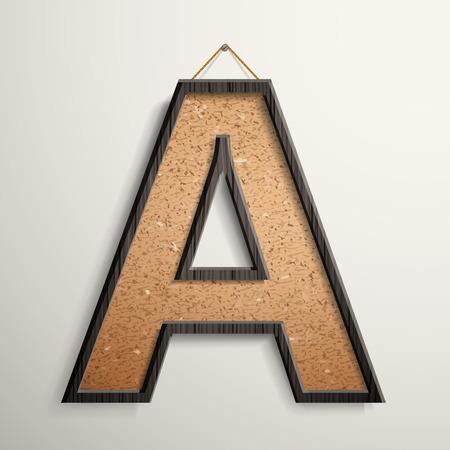 wooden frame: 3d wooden frame cork board letter A isolated on beige background Illustration