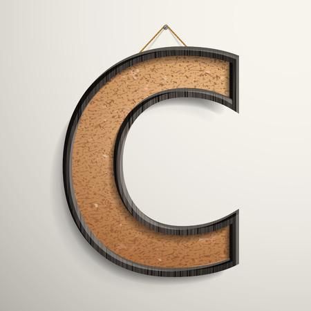 wooden frame: 3d wooden frame cork board letter C isolated on beige background Illustration