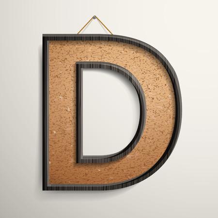 wooden frame: 3d wooden frame cork board letter D isolated on beige background Illustration