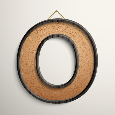 cork board: 3d wooden frame cork board letter O isolated on beige background
