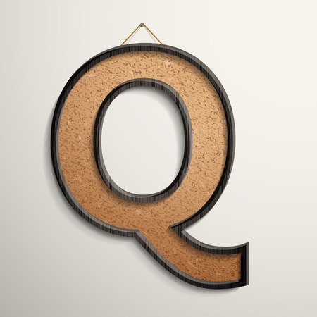 wooden frame: 3d wooden frame cork board letter Q isolated on beige background