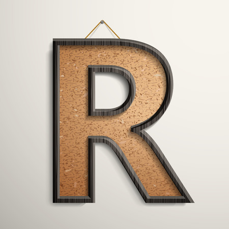 3d wooden frame cork board letter R isolated on beige background Vector
