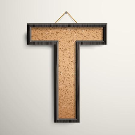 cork board: 3d wooden frame cork board letter T isolated on beige background Illustration