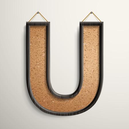 wooden frame: 3d wooden frame cork board letter U isolated on beige background
