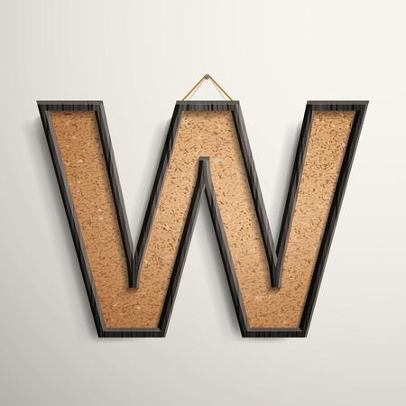 wooden frame: 3d wooden frame cork board letter W isolated on beige background