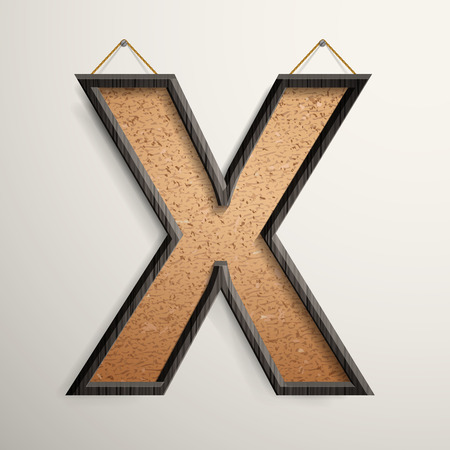3d wooden frame cork board letter X isolated on beige background Vector