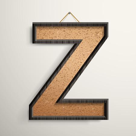 wooden frame: 3d wooden frame cork board letter Z isolated on beige background Illustration