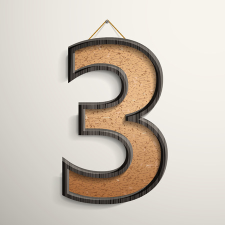 cork board: 3d wooden frame cork board number 3 isolated on beige background