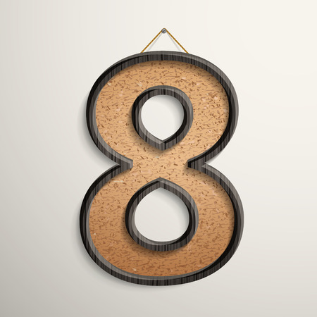 cork board: 3d wooden frame cork board number 8 isolated on beige background