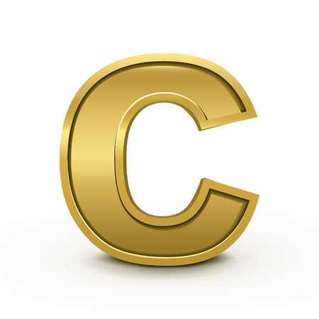 3d bright golden letter C isolated on white background