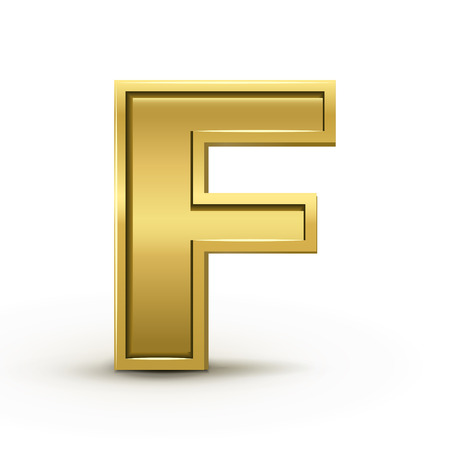 letter f: 3d bright golden letter F isolated on white background