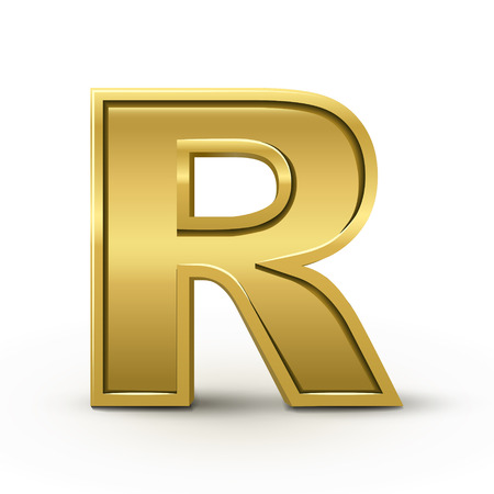 metal letter: 3d bright golden letter R isolated on white background Illustration