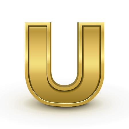 letter u: 3d bright golden letter U isolated on white background