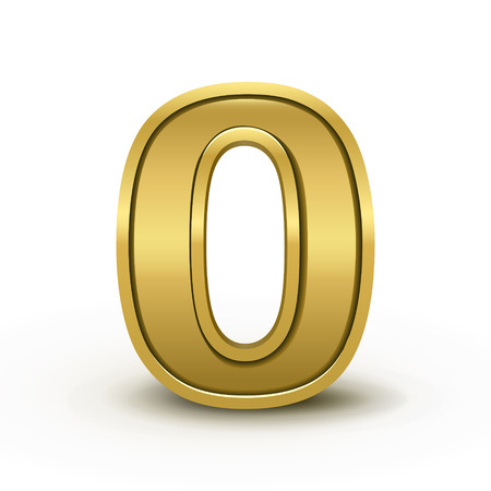 numbers: 3d bright golden number 0 isolated on white background