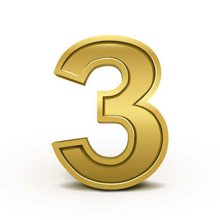 number 3: 3d bright golden number 3 isolated on white background
