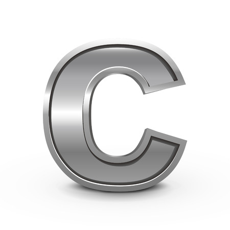 3d metal letter C isolated on white background