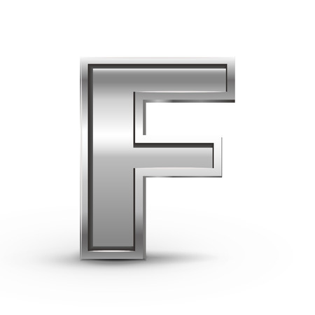 letter f: 3d metal letter F isolated on white background
