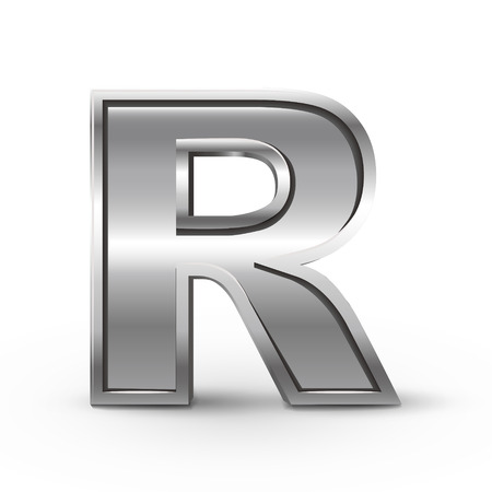 letter r: 3d metal letter R isolated on white background