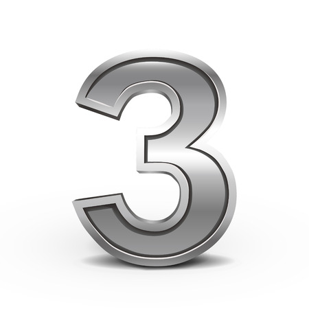 number 3: 3d metal number 3 isolated on white background
